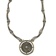 crystal medallion long pendant
