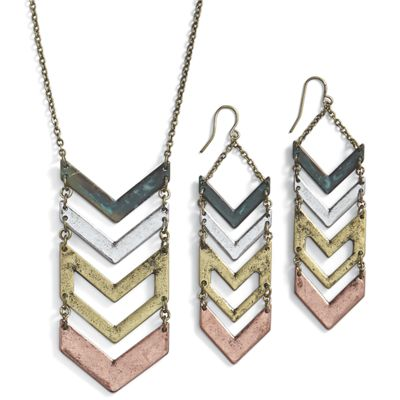Multicolor Chevron Necklace/Earring Set