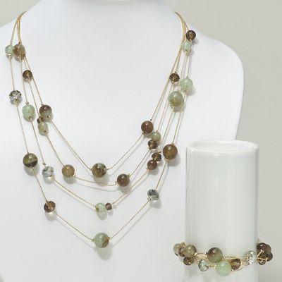 Multistrand Beaded Necklace/Bracelet Set