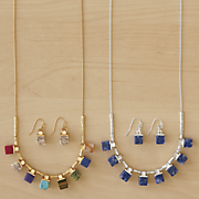gemstone necklace earring set WA