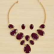 teardrop oval goldtone necklace earring set