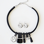 black silvertone necklace earring set
