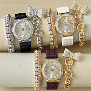 crystal rubber strap watch and 3 bracelet set