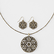 filigree long necklace earring set