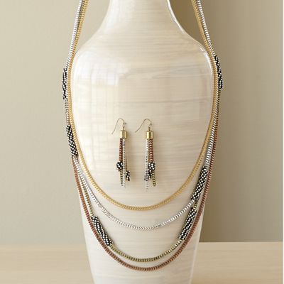 Crystal-Roll Necklace/Earring Set