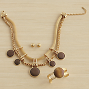 wood goldtone necklace cuff earring set