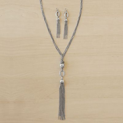 Tassel/Long Necklace/Earring Set