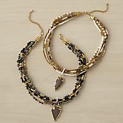 arrow bead goldtone necklace