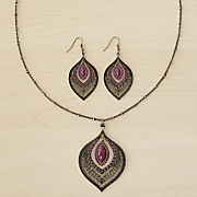 teardrop pendant earring set