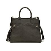 whipstitch satchel with tassels