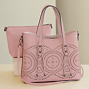 2 in 1 laser cut tote with crossbody bag