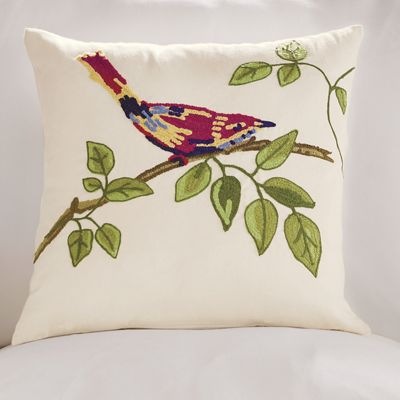 Red Bird On Branch Pillow