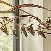 set of 6 owl ornaments