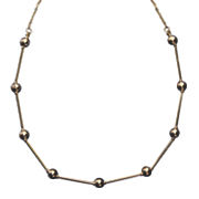 10k gold bead tube necklace