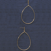 10k gold teardrop wire post earrings