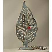 blue leaf jewelry holder