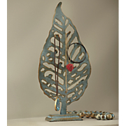 blue leaf jewelry holder