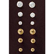 3 pair gold post earring set