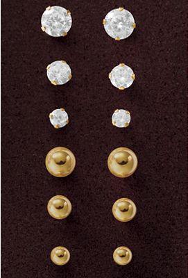 3-Pair Gold Post Earring Set