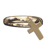 10k gold cross charm ring