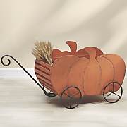 wood pumpkin wagon
