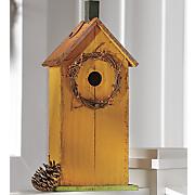 birdhouse with wreath