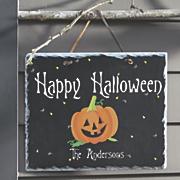 personalized happy halloween slate