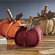 set of 3 burlap pumpkins