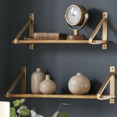 Set of 2 Gold Strap Shelves
