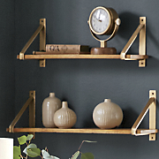 set of 2 gold strap shelves