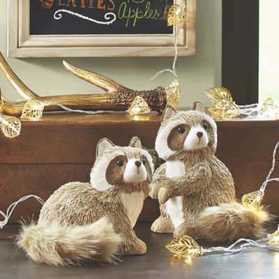 Set of 2 Glistening Racoons