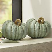 set of two aqua pumpkins
