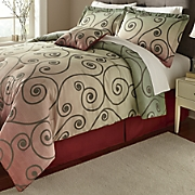 swirl comforter set  accent pillow and window treatments