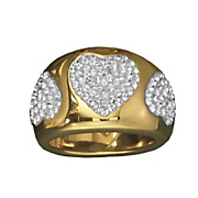 14k gold nano diamond resin crystal hearts ring