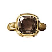 smokey quartz bezel cushion ring