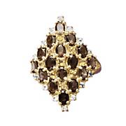 smokey quartz cluster ring
