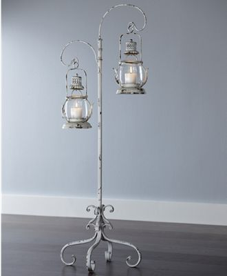 Distressed Stand With Lanterns