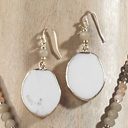 White Agate Earrings