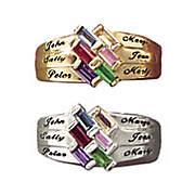 personalized baguette family ring