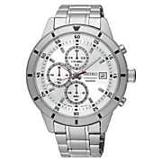 mens chrono stainless steel watch by seiko