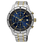 mens two tone blue chrono watch by seiko