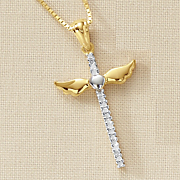 diamond cross pendant with wings