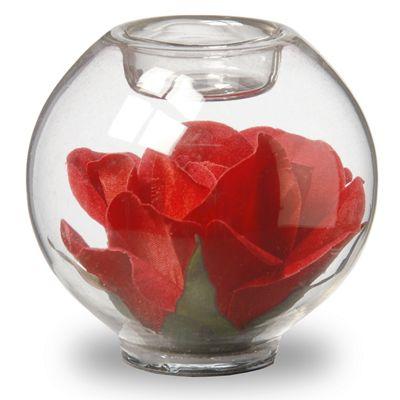 Red Rose Glass Votive