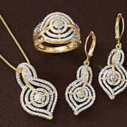 diamond swirl necklace  earrings and ring set