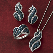 blue diamond necklace  earrings and ring set