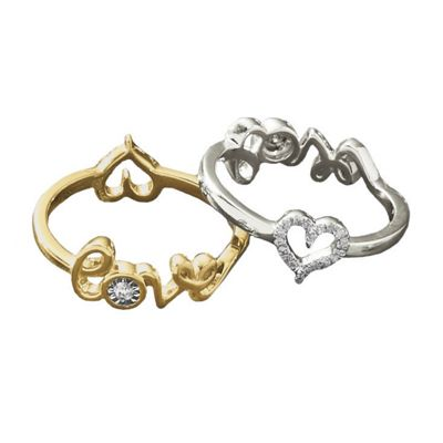 10K Gold Diamond Reversible 2-In-1 Heart/Love Ring
