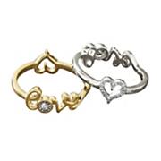 10k gold diamond reversible 2 in 1 heart love ring