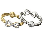 10k gold diamond reversible 2 in 1 infinity circle ring