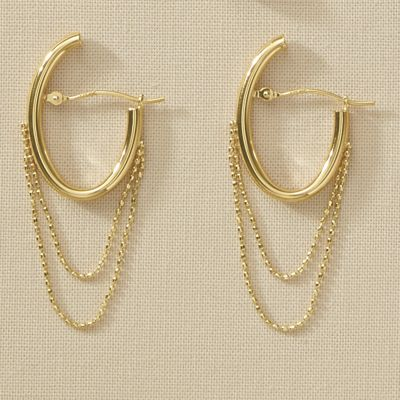 10K Gold Oval Chain Hoops