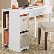 single pedestal desk with shelves